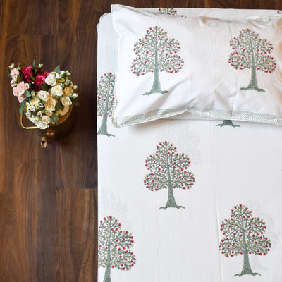 Flowering Pomegranate Tree Hand Block Print Bed Sheet - Home Artisan_1