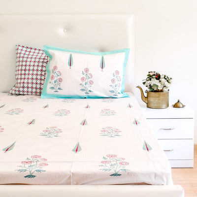 Cypress and Rose Hand Block Print Bed Sheet - Home Artisan_5