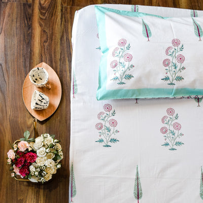 Cypress and Rose Hand Block Print Bed Sheet - Home Artisan_1