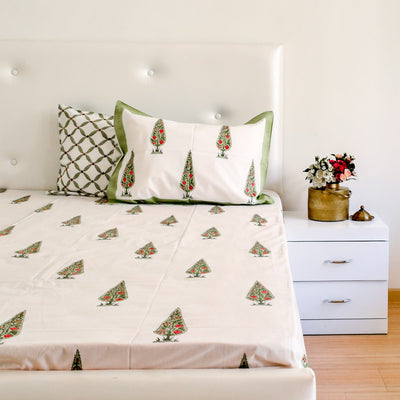 Mini Cypress Hand Block Print Bed Sheet - Home Artisan_5