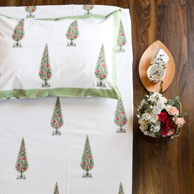 Mini Cypress Hand Block Print Bed Sheet - Home Artisan_1