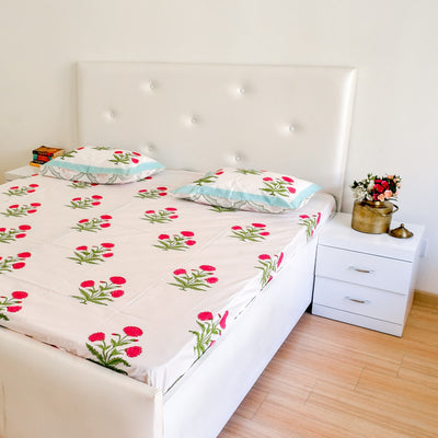 Dahlia Hand Block Print Bed Sheet - Home Artisan_4
