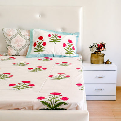 Dahlia Hand Block Print Bed Sheet - Home Artisan_5