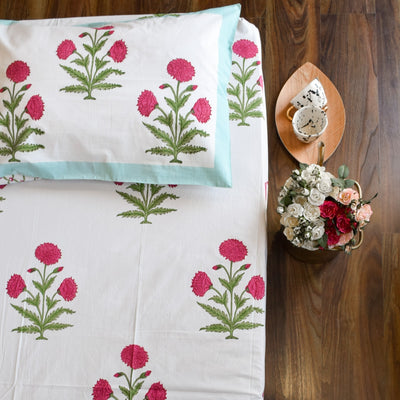 Dahlia Hand Block Print Bed Sheet - Home Artisan_1