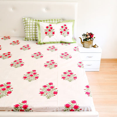 Indian Spring Floral Hand Block Print Bed Sheet - Home Artisan_5