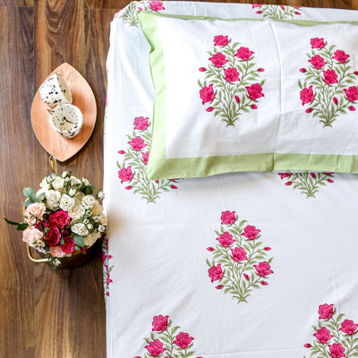 Indian Spring Floral Hand Block Print Bed Sheet - Home Artisan_1