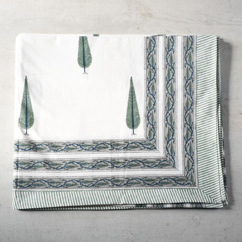 Forest of Cypress Hand Block Print Bed Sheet
