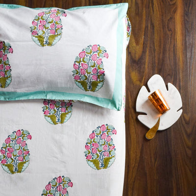 Tulip Paisley Hand Block Print Bed Sheet