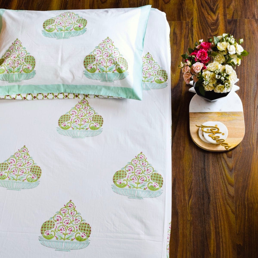 An Indian Monsoon Hand Block Print Bed Sheet