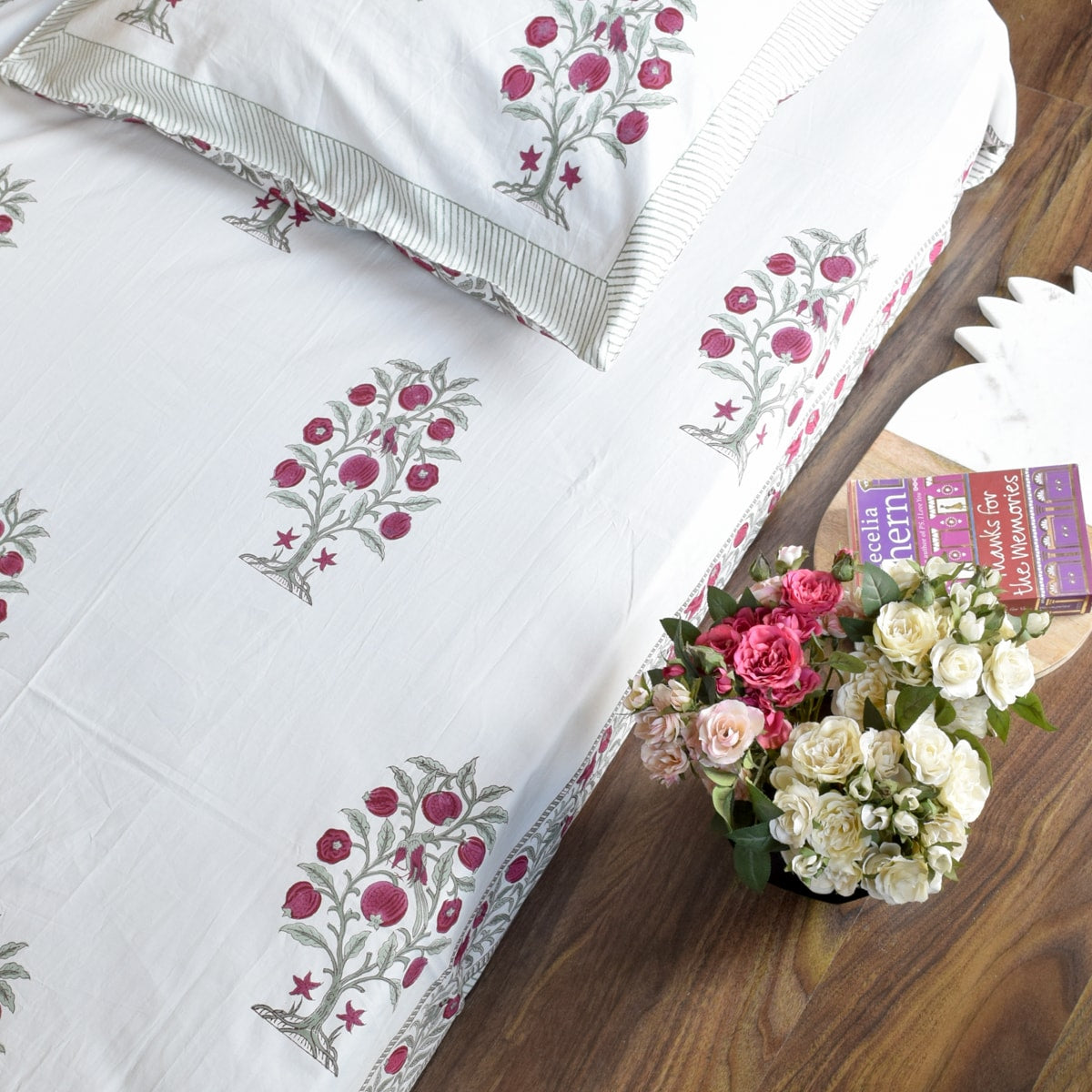 Pomegranate Tree and Bird Hand Block Print Bed Sheet
