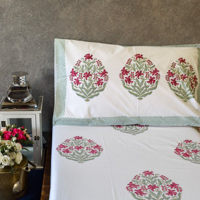 Himalayan Wildflower Hand Block Print Bed Sheet - Home Artisan