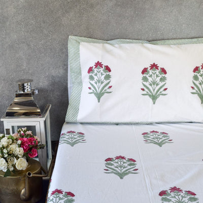 Spring Garden Hand Block Print Bed Sheet - Home Artisan