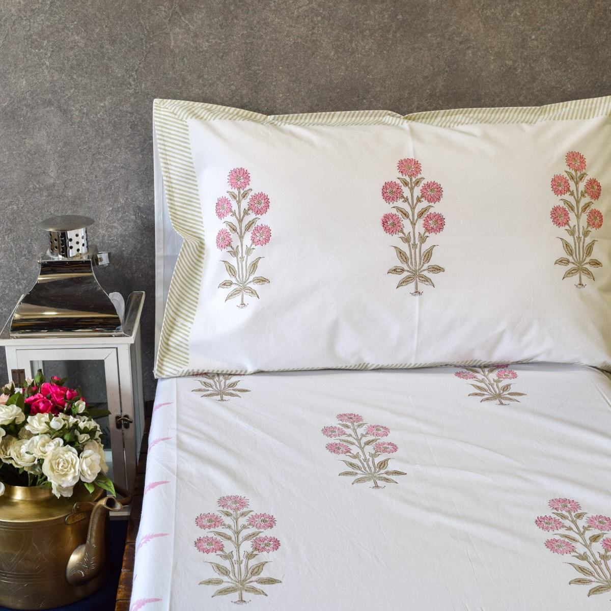 Blush Chrysanth Floral Pattern Hand Block Print Bed Sheet