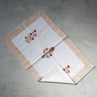 Playful Poppies Hand Block Print Bed Sheet