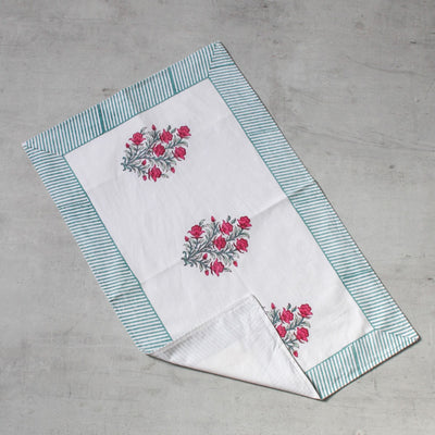 Summer Floral Hand Block Print Bed Sheet