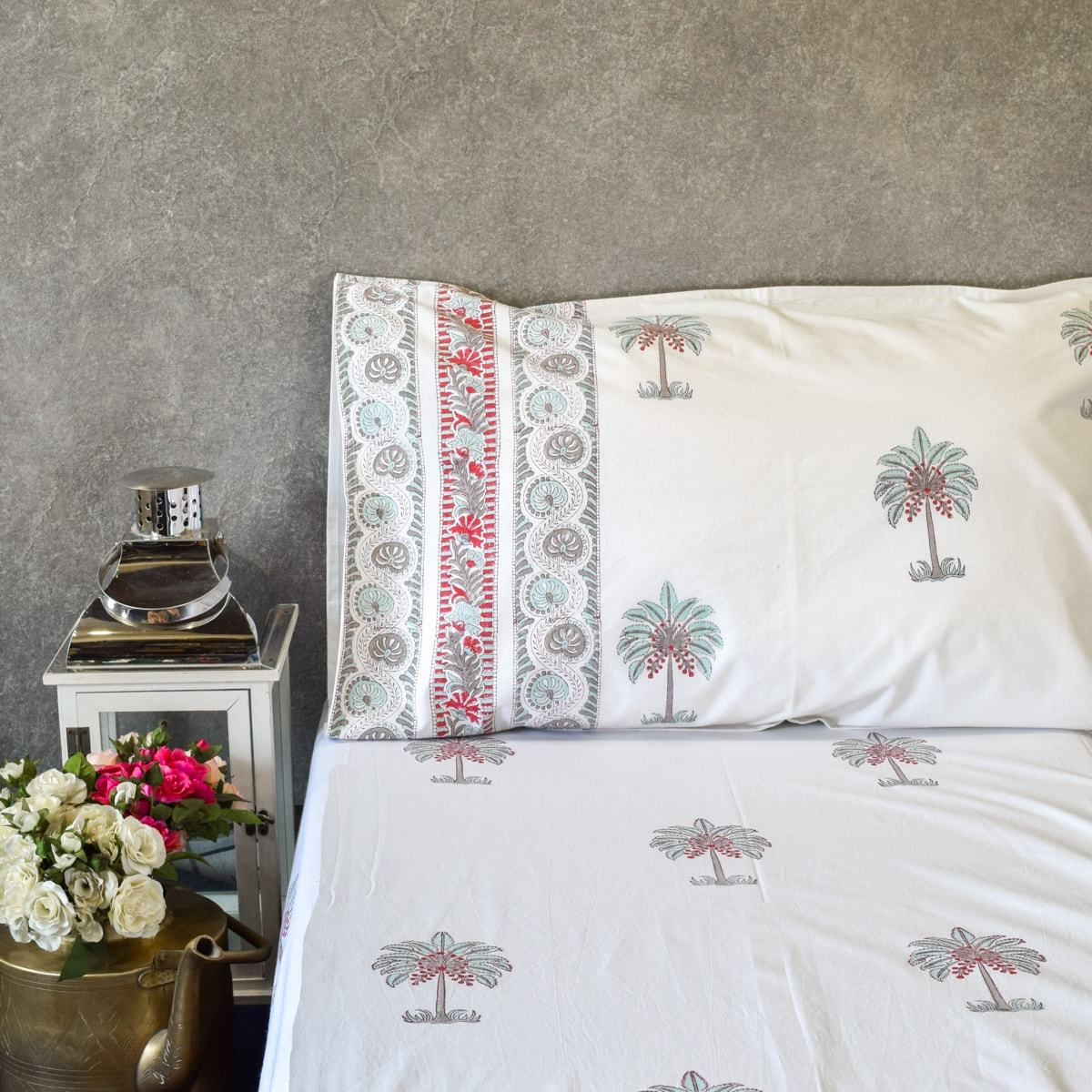 Palm Drive Hand Block Print Bed Sheet