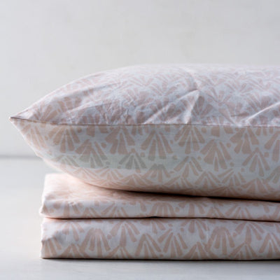 Ingrith White and Pink Palm Frond Percale Bed Sheet - Home Artisan