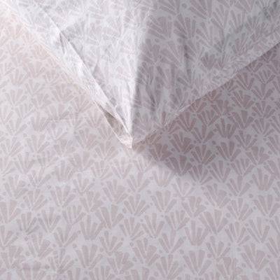 Ingrith White and Pink Palm Frond Percale Bed Sheet