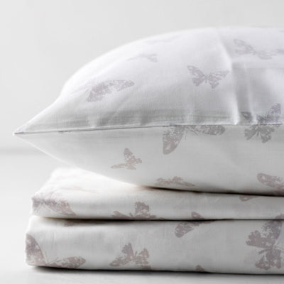 Isadora Butterfly Print Percale Bed Sheet - Home Artisan