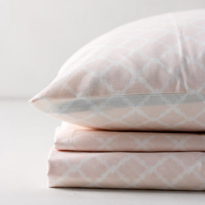 Melanie White and Pink Latticework Percale Bed Sheet - Home Artisan