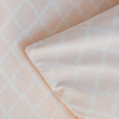 Melanie White and Pink Latticework Percale Bed Sheet