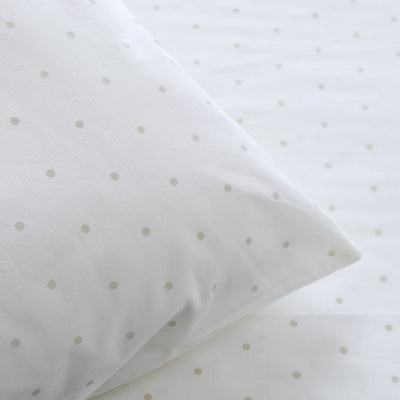 Brenton White and Beige Polka Dot Percale Bed Sheet