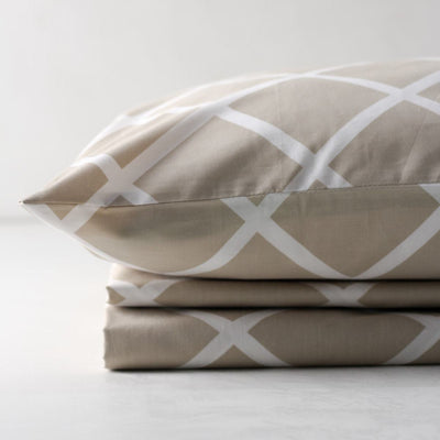 Diablo Beige and White Geometric Print Percale Bed Sheet - Home Artisan