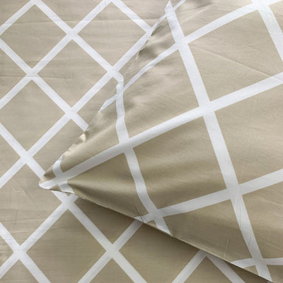 Diablo Beige and White Geometric Print Percale Bed Sheet