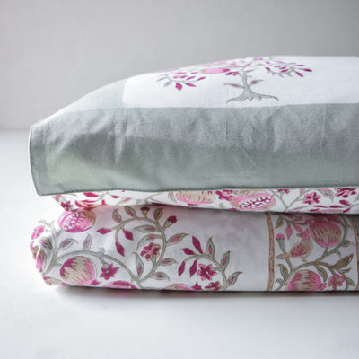 Irisa Pomegranate and Bird Hand Block Print Bed Sheet