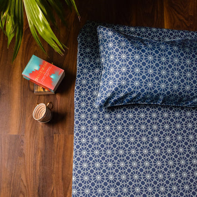 Mason Blue and Turquoise Geometric Print Bed Sheet - Home Artisan_2
