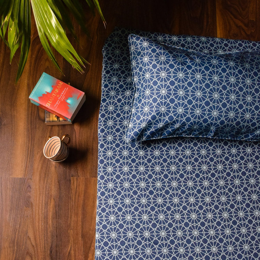 Mason Blue and Turquoise Geometric Print Bed Sheet
