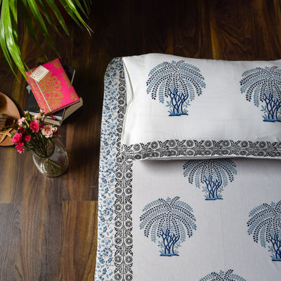 Blue 'Tree of Life' Hand Block Print Bed Sheet  - Home Artisan