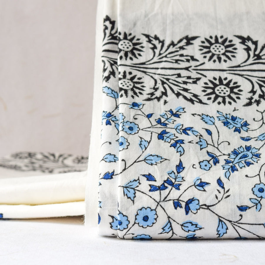Blue 'Tree of Life' Hand Block Print Bed Sheet