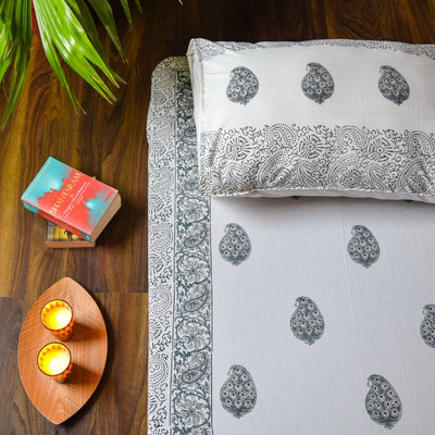 Olive Green Paisley Hand Block Print Bed Sheet  - Home Artisan
