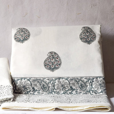 Olive Green Paisley Hand Block Print Bed Sheet - Home Artisan_1
