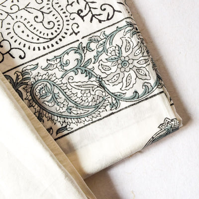 Olive Green Paisley Hand Block Print Bed Sheet - Home Artisan_3