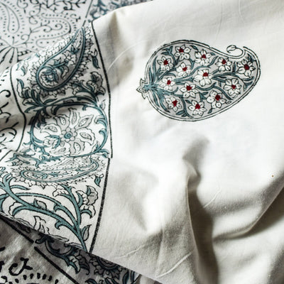 Olive Green Paisley Hand Block Print Bed Sheet - Home Artisan_4