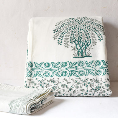 Green' Tree of Life' Hand Block Print Bed Sheet - Home Artisan_1