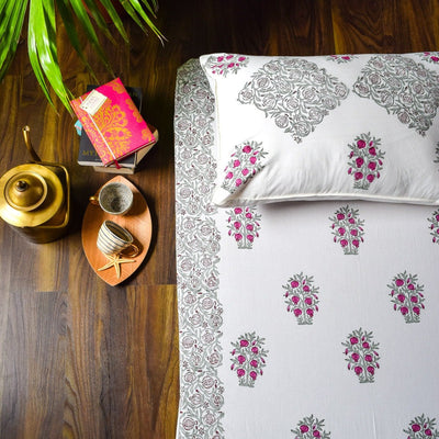 Pomegranate Tree Hand Block Print Bed Sheet  - Home Artisan