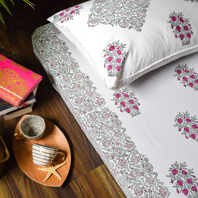 Pomegranate Tree Hand Block Print Bed Sheet - Home Artisan_4