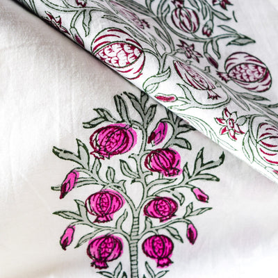 Pomegranate Tree Hand Block Print Bed Sheet - Home Artisan_2