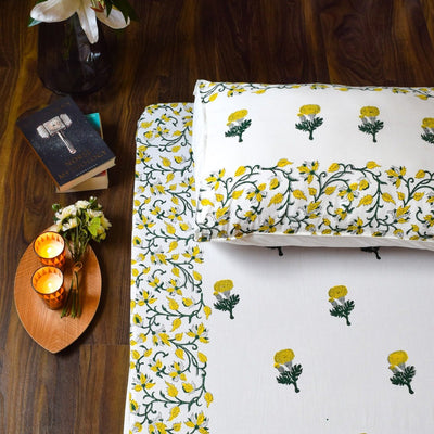Yellow Marigold Hand Block Print Bed Sheet - Home Artisan