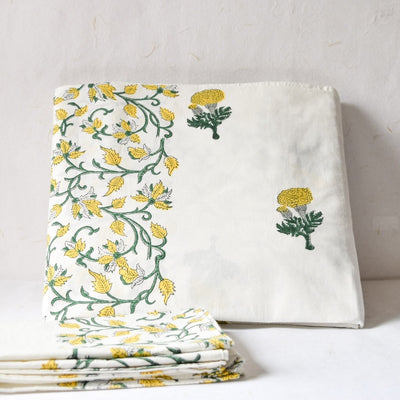Yellow Marigold Hand Block Print Bed Sheet - Home Artisan_1