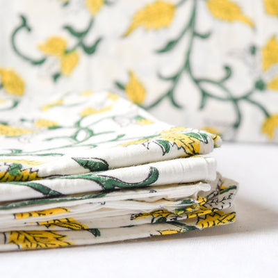 Yellow Marigold Hand Block Print Bed Sheet - Home Artisan_2