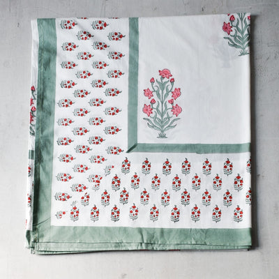 Wildflower Hand Block Print Bed Sheet