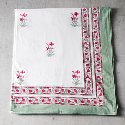 Summer Flower Hand Block Print Bed Sheet