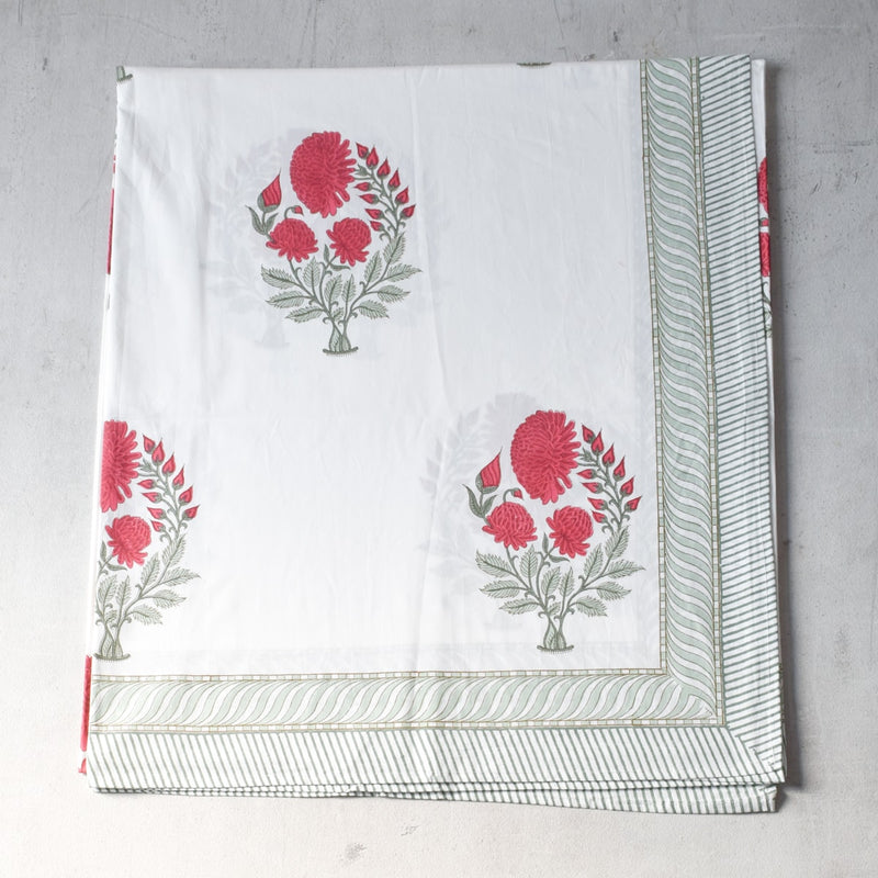 A Trio of Dahlias Hand Block Print Bed Sheet