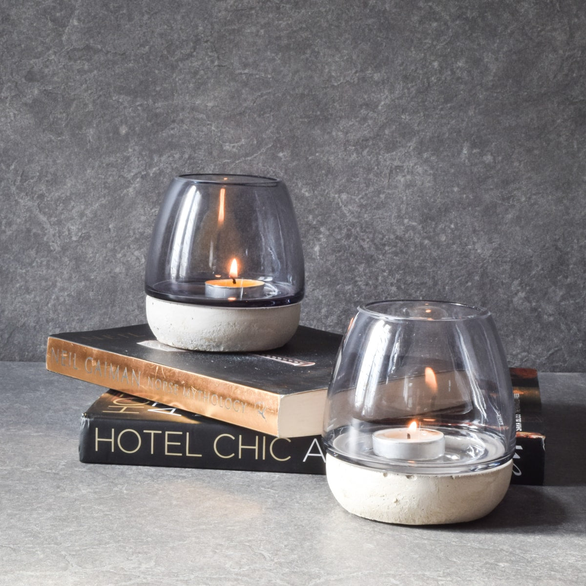 Anderson Concrete Base Clear Glass Tealight Holder - Home Artisan_1