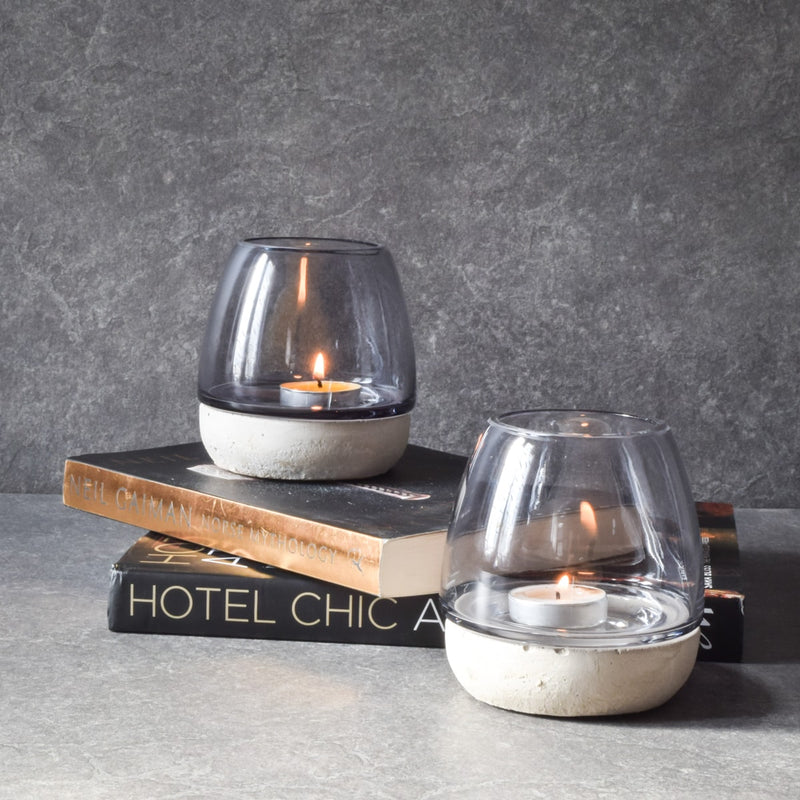 Anderson Concrete Base Smoky Glass Tealight holder - Home Artisan