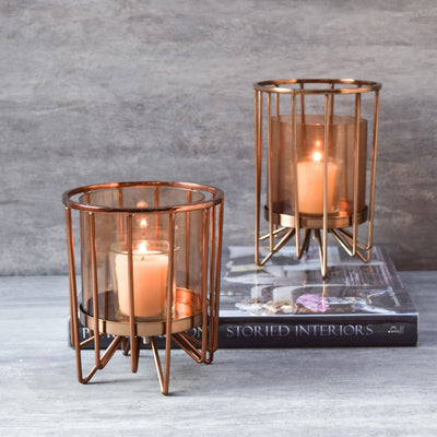Morpheus Rose Gold Hurricane Candle Holder - Large - Home Artisan